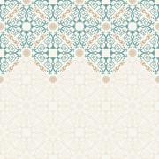 Seamless border vector ornate in Eastern style - stock illustration