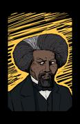 Portrait of Frederick Douglass Over Yellow Etching - stock illustration