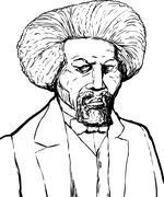 Outlined Portrait of Frederick Douglass Stock Illustration
