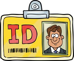 Cartoon identification card - stock illustration