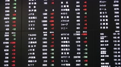 WIDE SHOT OF STOCK PRICE ILLUMINATED ON TOKYO STOCK EXCHANGE BOARD TOPIX Stock Footage