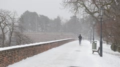 Illustrative emotional .A woman running on snowy day in Prague Castle Stock Footage