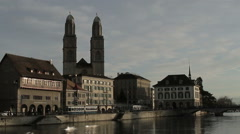 Grossmunster Cathedral - Zurich Stock Footage
