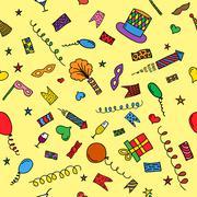Carnival hand drawn seamless pattern - stock illustration