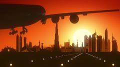 Dubai UAE Travel Airplane Landing - stock illustration