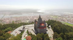 Drone View Landscape Santa Luzia Church Aerial Portugal Travel Architecture Arkistovideo