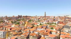 Clerigos Church City Porto Baroque Residential Tourist Attraction Drone Bell - stock footage