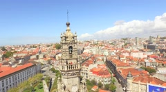 Clerigos Church Tower Drone Footage City Porto Baroque Style Portugal Stock Footage