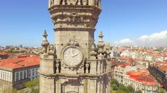 Baroque Style Clerigos Church Clock Tower Portugal Drone Footage City Porto Stock Footage