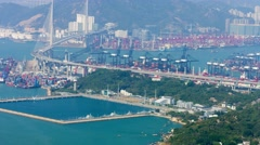 Hong Kong Cityscape with Stonecutters Bridge and Highway System. UltraHD vide Stock Footage