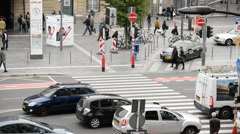 Time Lapse of Busy Traffic Intersection Downtown Luxembourg City - Luxembourg Stock Footage