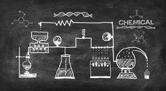 scheme chemical reaction - stock photo