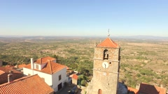 Landscape Aerial Guaita Tower Historic Drone Travel Portugal City Building Stock Footage