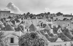 Stock Photo of Scenic panoramic view of Alberobello and trulli buildings, Apulia, Italy