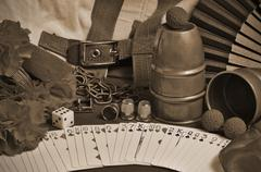 Collection of classic Magic tricks with a sepia edition applied Stock Photos
