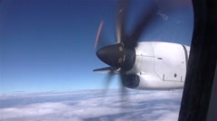 CLOSE UP: Small plane propeller spinning on airplane flight Stock Footage