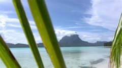 Picturesque Bora Bora blue lagoon and exotic white sand beaches Stock Footage