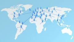 Network growing on the Earth map. Global Business Concept 3d animation. - stock footage