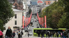 Time Lapse of Busy Oslo Street - Oslo Norway Europe Stock Footage