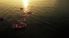 Aerial Boat Travel Water Sunlight Reflection Rippled Transportation Footage Stock Footage