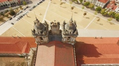 Alcobaca Monastery Aerial Roof Mediaeval Roman Catholic Architecture Tower Stock Footage