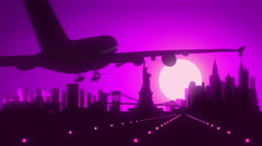 New York Travel Skyline Silhouette Background Town Purple Violet Pink Arkistovideo