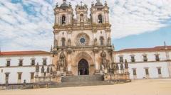 Alcobaca Monastery Drone Footage Fa�ade Bell Tower Mediaeval Roman Catholic Stock Footage