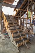 staircase cement concrete structure in residential house building - stock photo