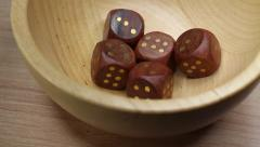 Dice Cubes On Wood Cup Rotating Table Stock Footage