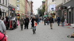 Busy Shopping Street in Oslo Norway Europe Stock Footage