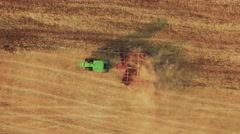 Tractor Ploughing Field Aerial Footage Agriculture Dirt Equipment Cultivation Stock Footage