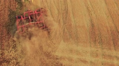 Footage Nature Tractor Ploughing Field Drone Scenic Cultivation Dirt Equipment Stock Footage