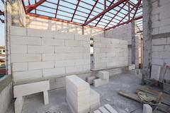 white Lightweight Concrete block, Foamed concrete block, raw material for ind - stock photo