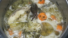 Cooking the Macrourus fish soup. Fish soup is cooked Stock Footage
