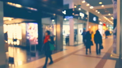 Blurred background window boutique shop interior with glowing lights and motion Stock Footage