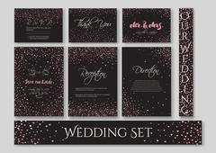 Wedding set cards Stock Illustration