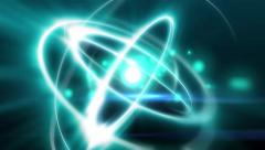 Atomic animation light atom with nucleus and electron flying for quantum physics Stock Footage