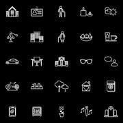 Stock Illustration of Retirement community line icons on black background