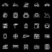 Land transport related line icons on black background Stock Illustration