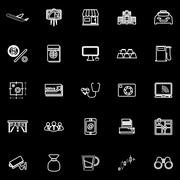 Application line icons on black background Stock Illustration