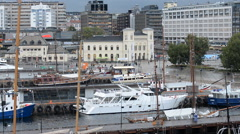 Time Lapse Zoom Out of People & Boats in Oslo Harbor - Oslo Norway Europe - stock footage