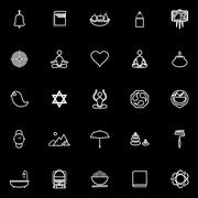 Zen society line icons on black background - stock illustration