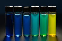 Multi-colored liquid in the vials Stock Photos