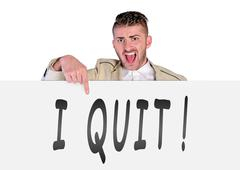 Man showing quit - stock photo