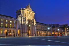 The Praca do Comercio or Commerce Square is located in the city of Lisbon, Po - stock photo