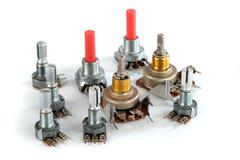Potentiometer variable resistor or rheostat. Stock Photos