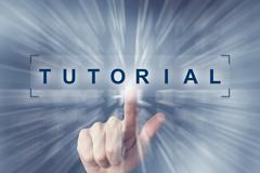 Hand clicking on tutorial button Stock Illustration