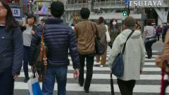 Crowd Pedestrians People Crossing The Street In Tokyo Japan Asia Stock Footage