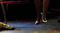 Sensual blonde stripper in heels, live perfomance, stage Stock Footage