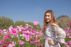 Woman with cosmos flower field Stock Photos